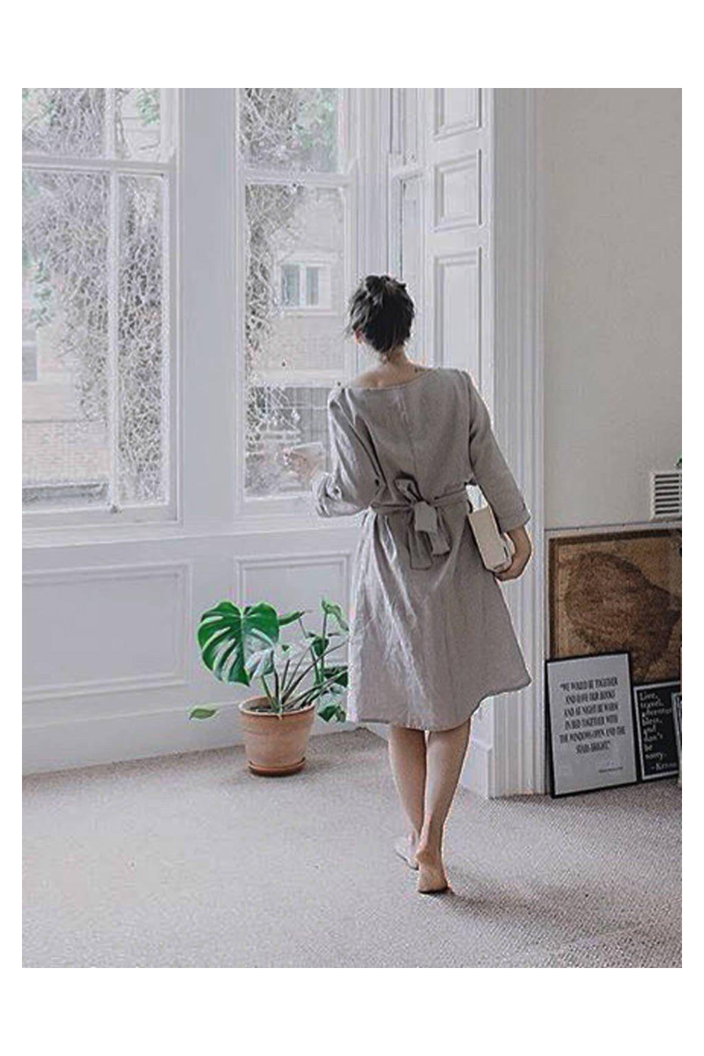 Dámske oversized ľanové šaty 3/4 rukáv - rôzne farby