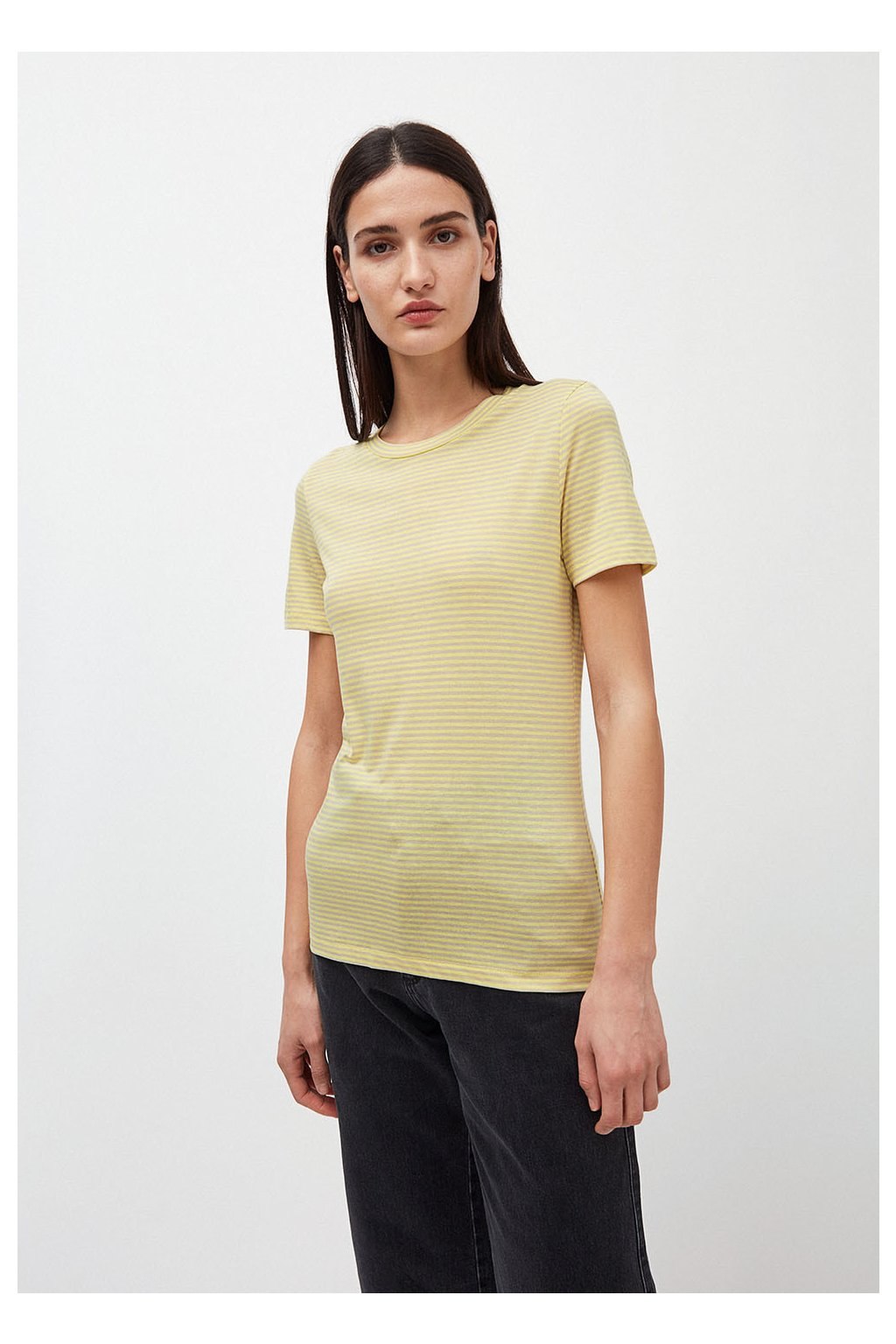 "Dámské pruhované tričko z biobavlny ""Lidaa Ring Stripes Lime/Kitt"" (Velikost L)"