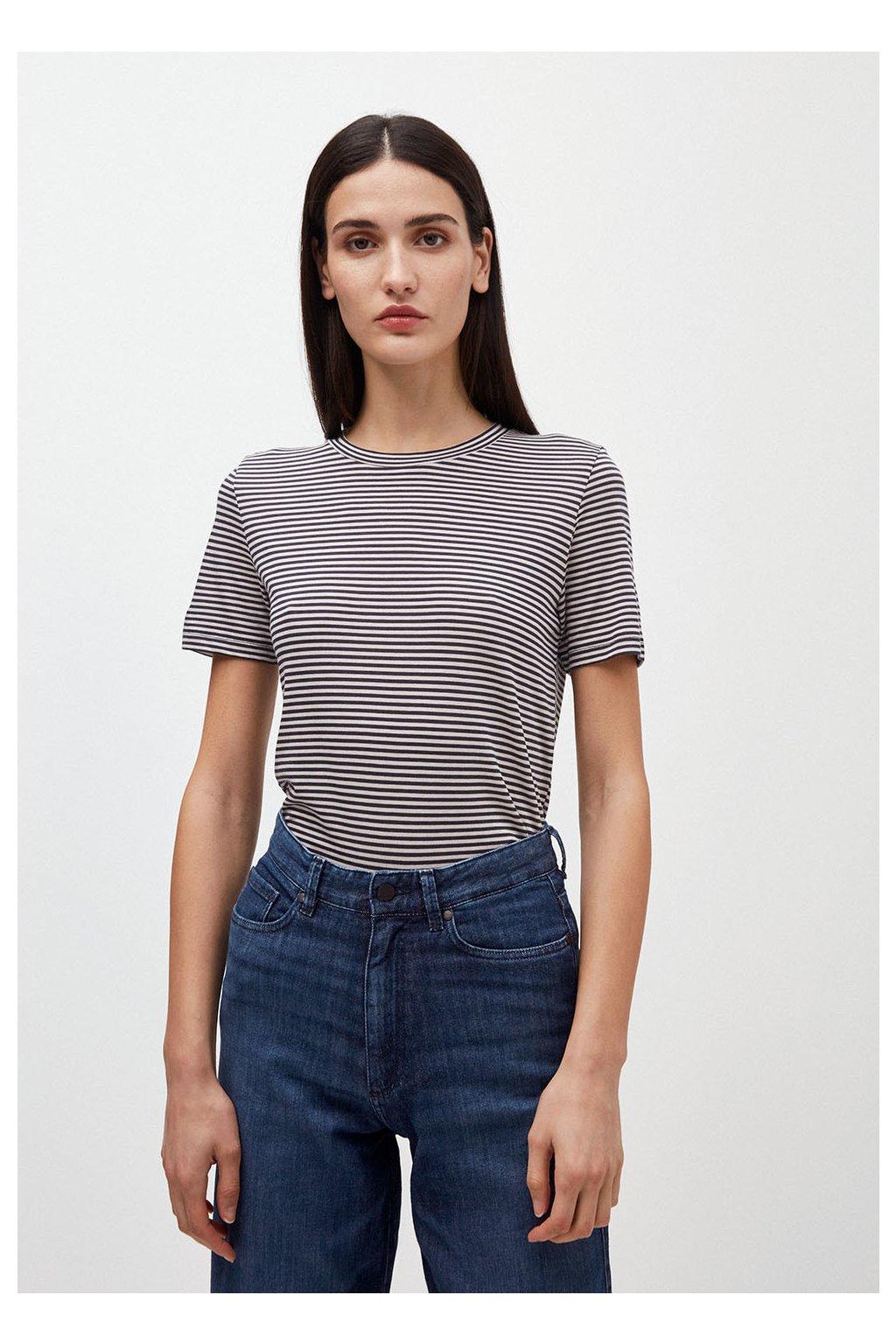 "Dámské pruhované tričko z biobavlny ""Lidaa Ring Stripes Night Sky/Kitt"" (Velikost L)"