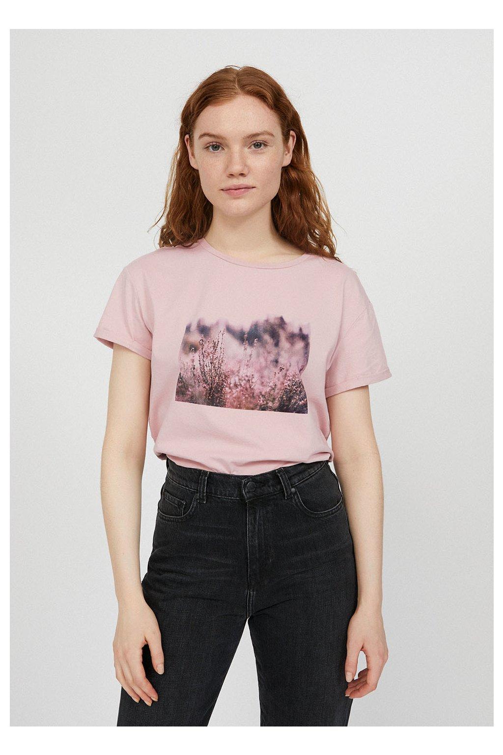 """Dámské růžové tričko s potiskem """"NAALIN heathland"""" (Velikost L)"""