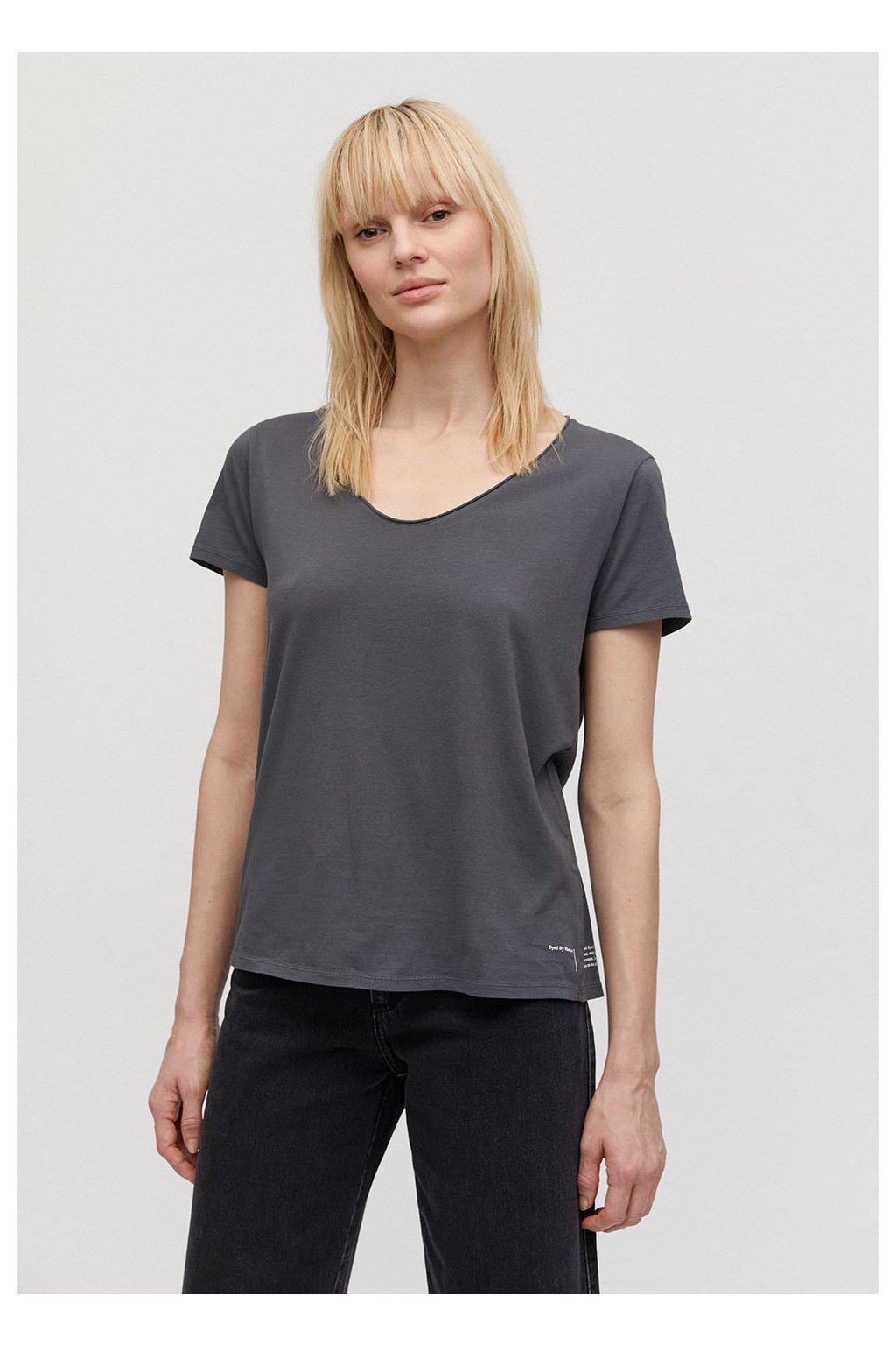 """Dámské šedé tričko """"HAADIA DYED BY NATURE natural charcoal"""" (Velikost L)"""