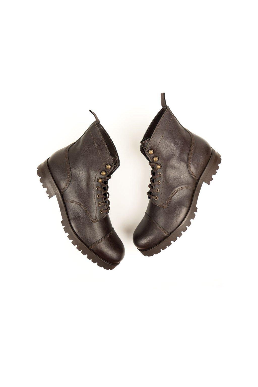 "Dámske tmavohnedé členkové topánky ""Work Boots Dark Brown"""