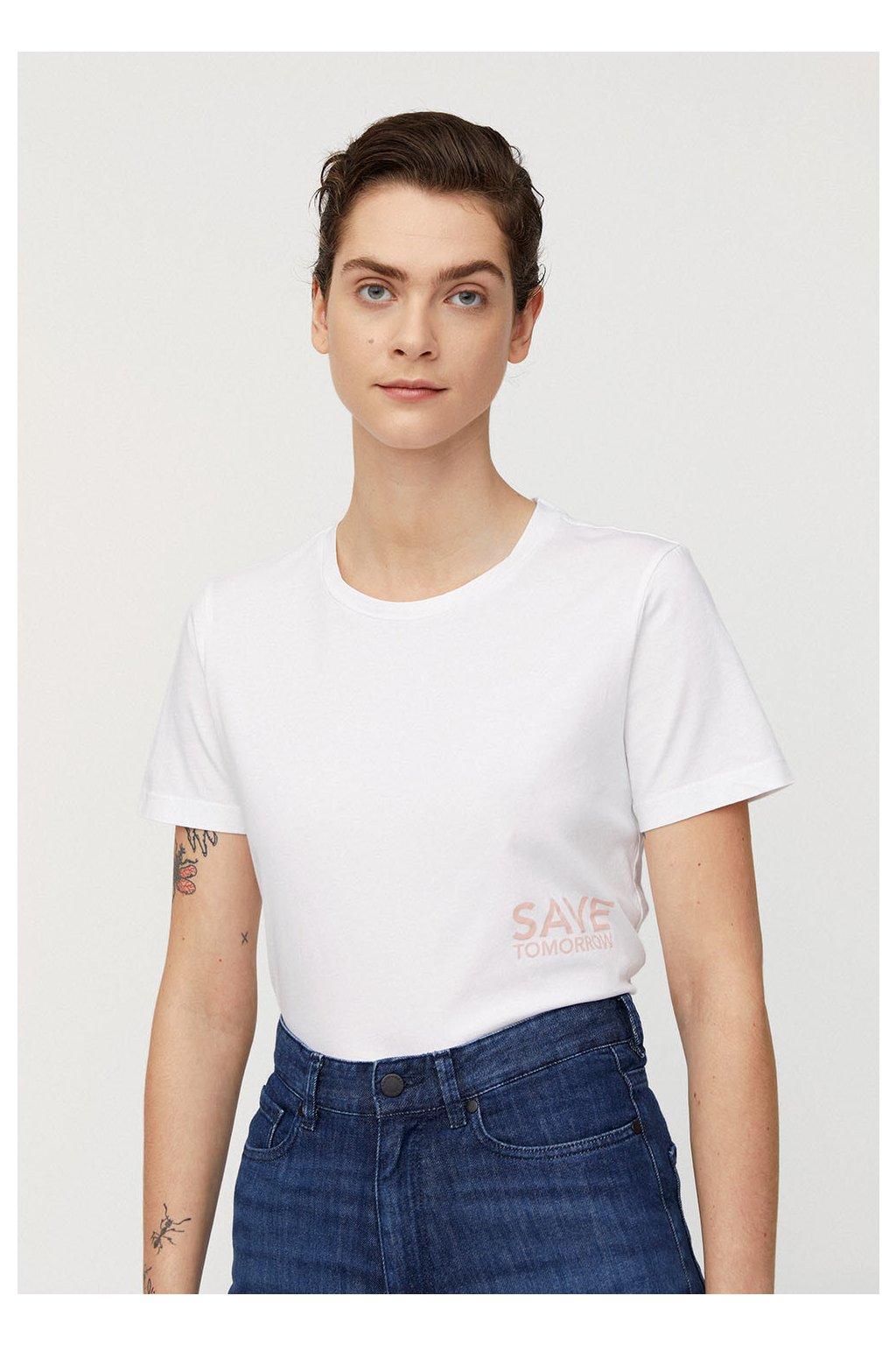 "Dámské tričko z biobavlny ""MARAA SAVE TOMORROW white"" (Velikost L)"