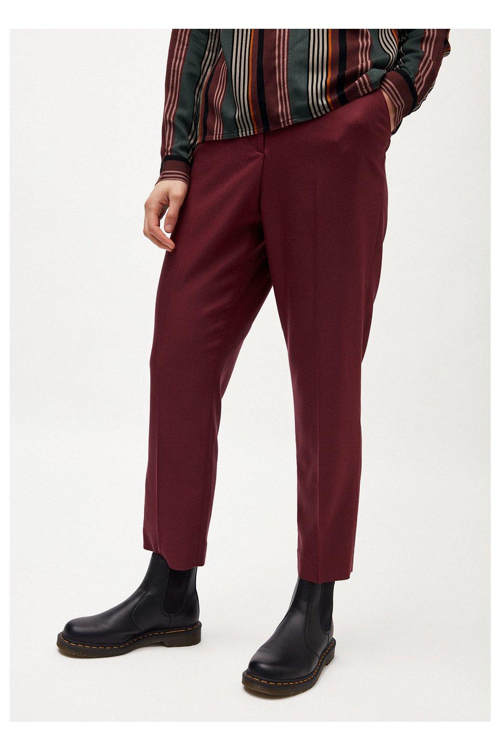 """Dámské vínové kalhoty z tencelu """"HERTTAA"""" (Velikost L)"""