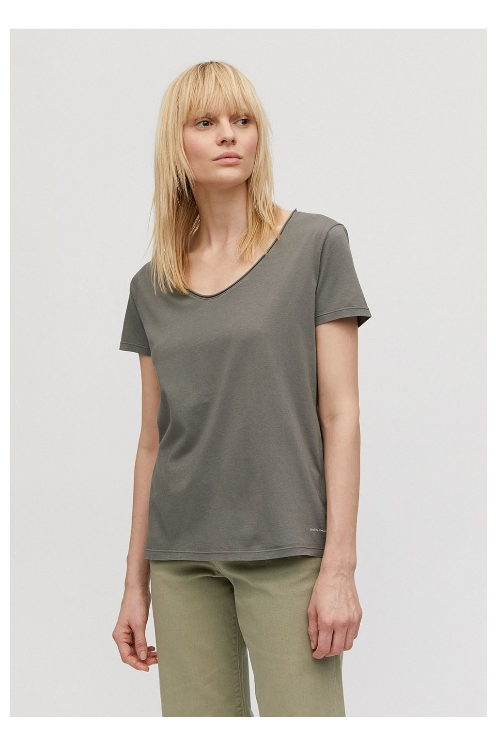 "Dámské zelené tričko ""HAADIA DYED BY NATURE natural khaki"" (Velikost L)"