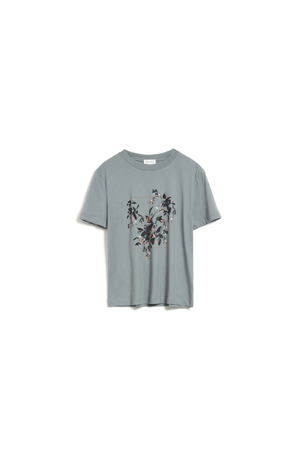 "Dámské zelené tričko z biobavlny ""MIAA floral frame"" (Velikost L)"