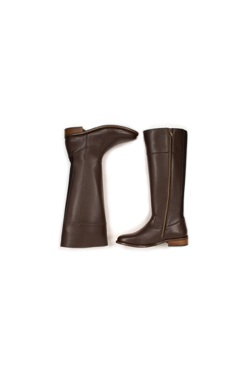 """Dámske hnedé čižmy z biooleja """"Knee High Boots"""""""