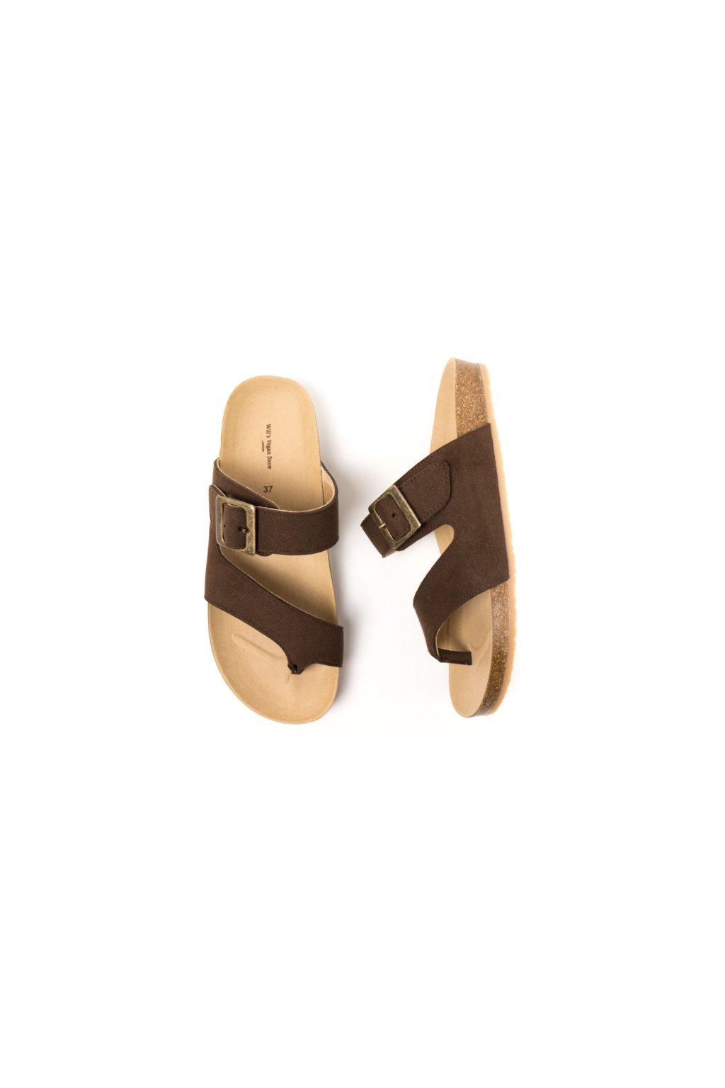 """Hnedé sandále """"Two Strap Toe Peg Sandals"""""""