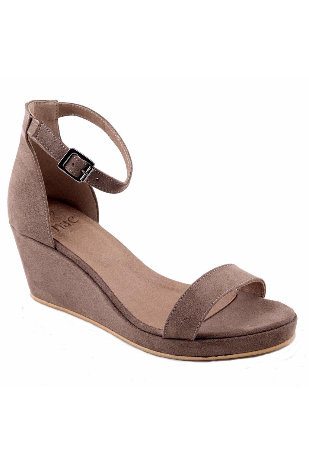 """Hnedé sandálky na celom podpätku """"Linda brown"""""""
