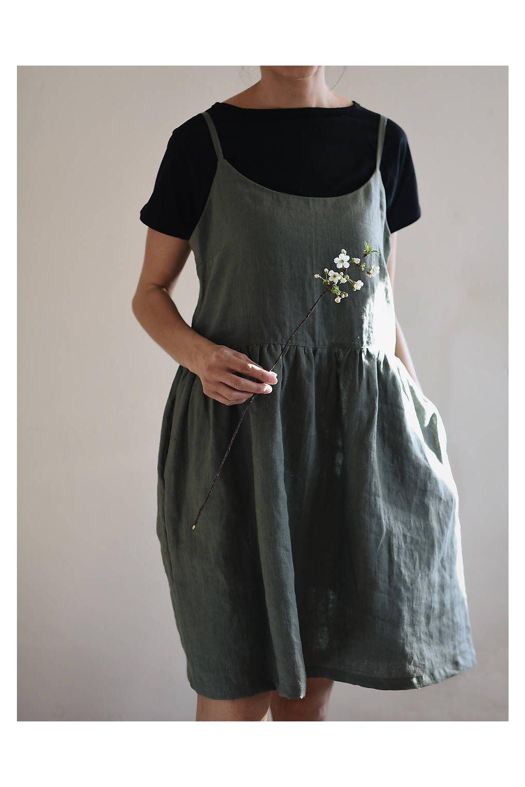 """Ľanové šaty na ramienka """"ELENA"""" rôzne farby"""