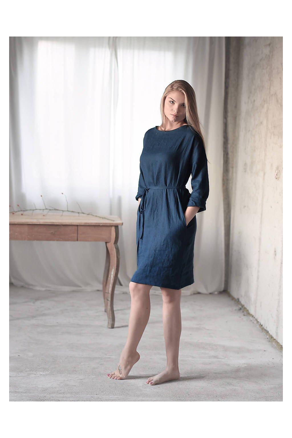 """Ľanové šaty s dlhým rukávom a s opaskom  """"BASIC"""" rôzne farby"""