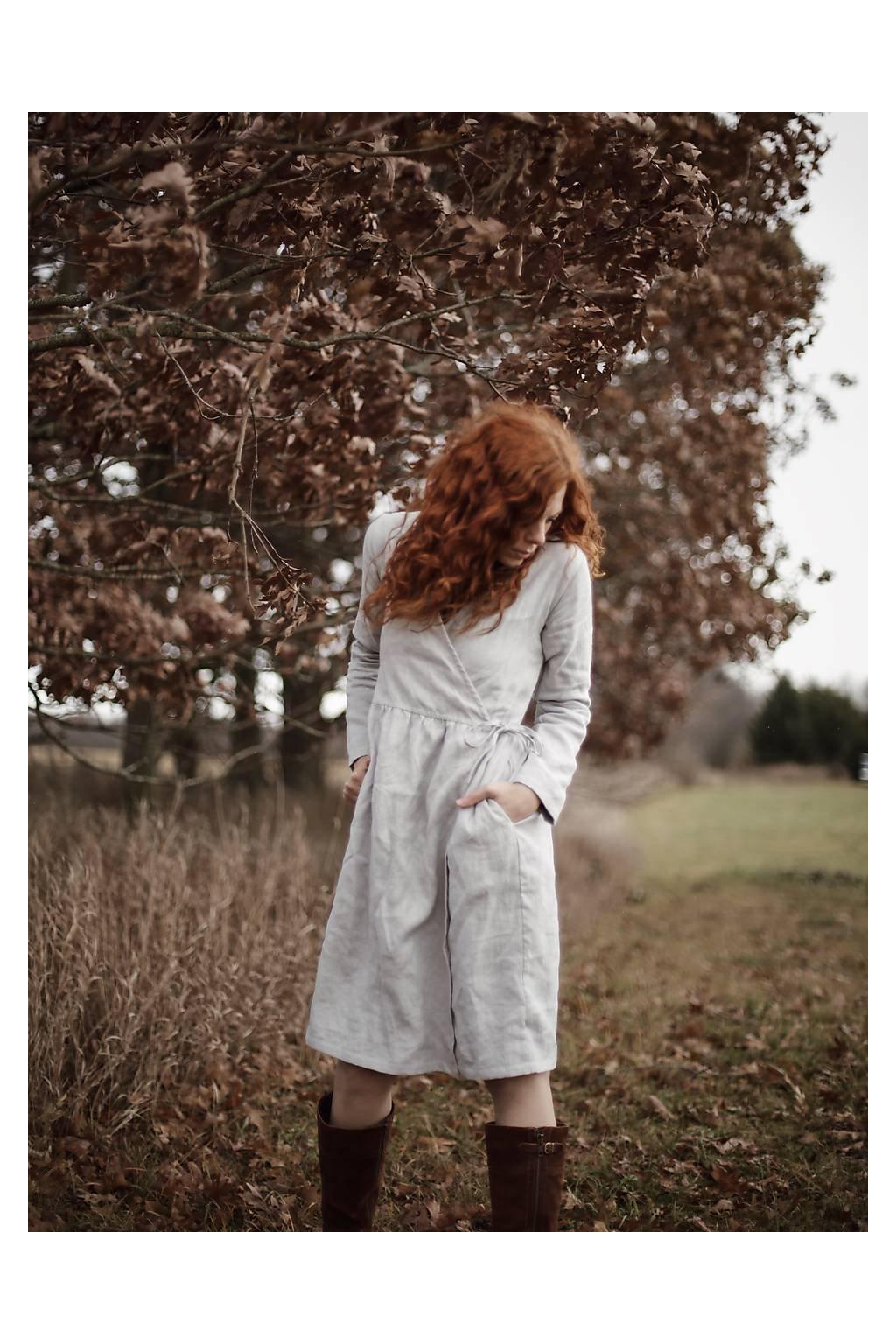 Ľanové zavinovacie šaty s dlhým rukávom (kabátik) rôzne farby