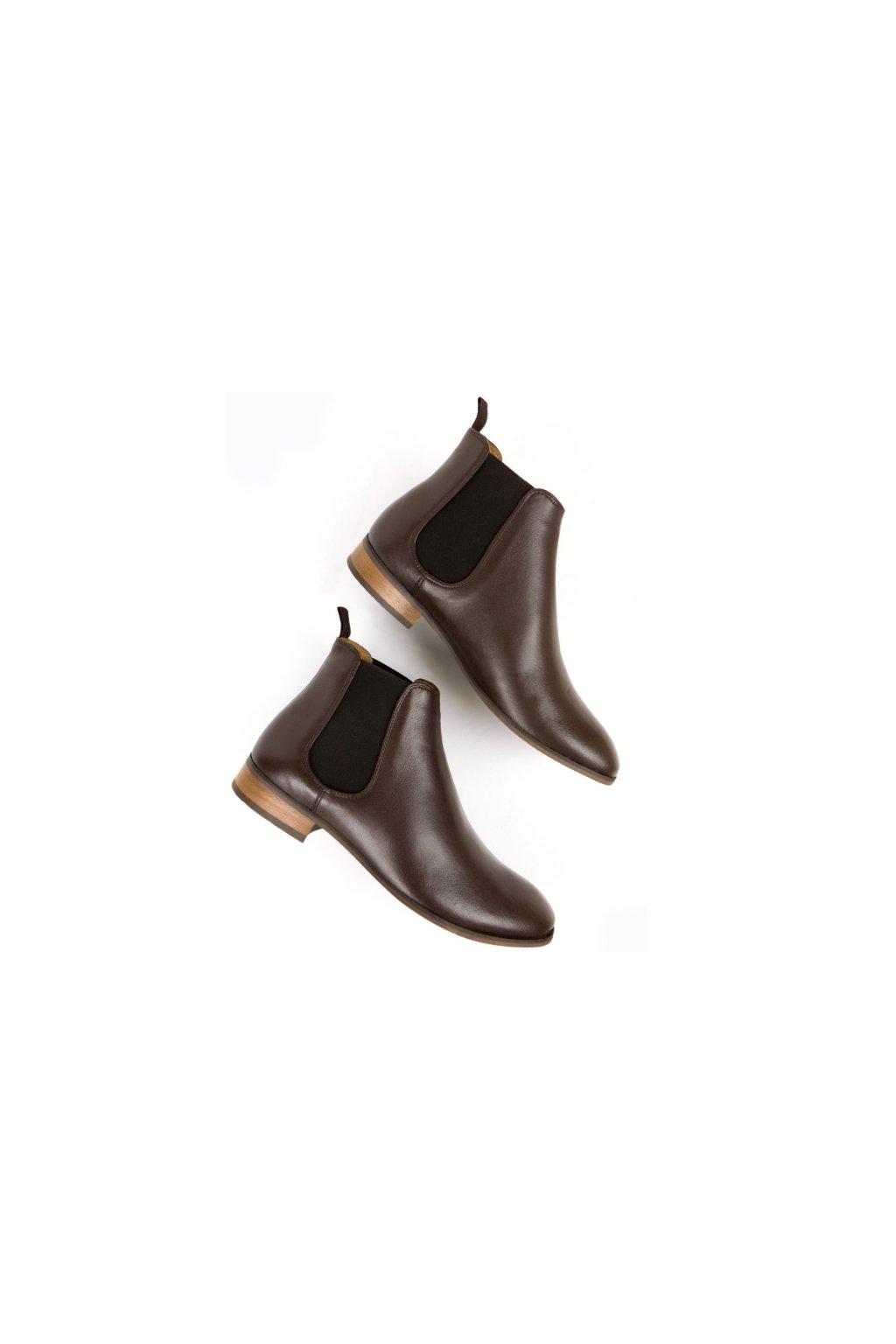 "Pánske hnedé členkové topánky z biooleja ""Chelsea Boots Dark Brown"""