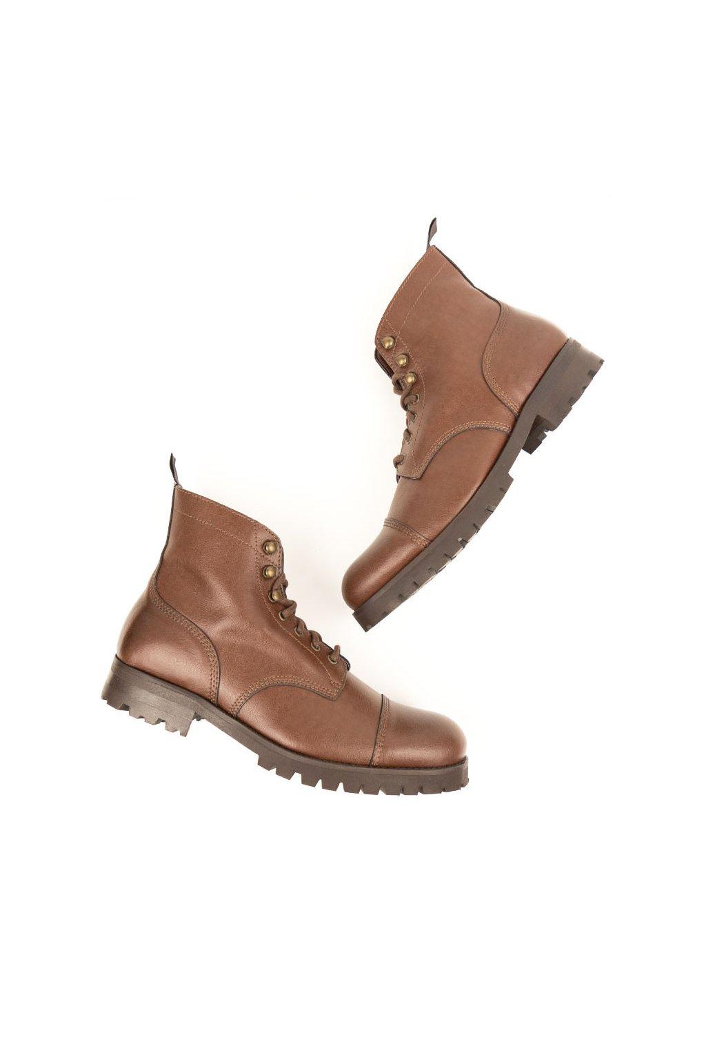 """Pánske hnedé členkové topánky """"Work Boots Chestnut"""""""