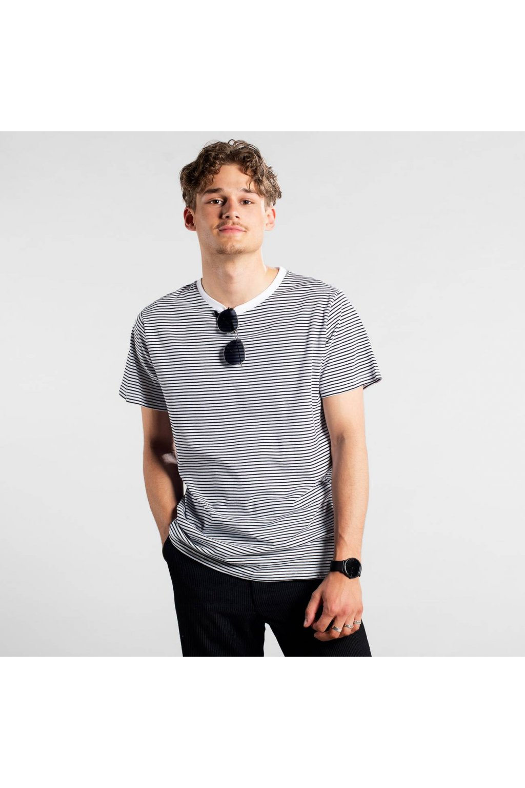"""Pánske pruhované tričko """"Stockholm Stripes Black"""""""