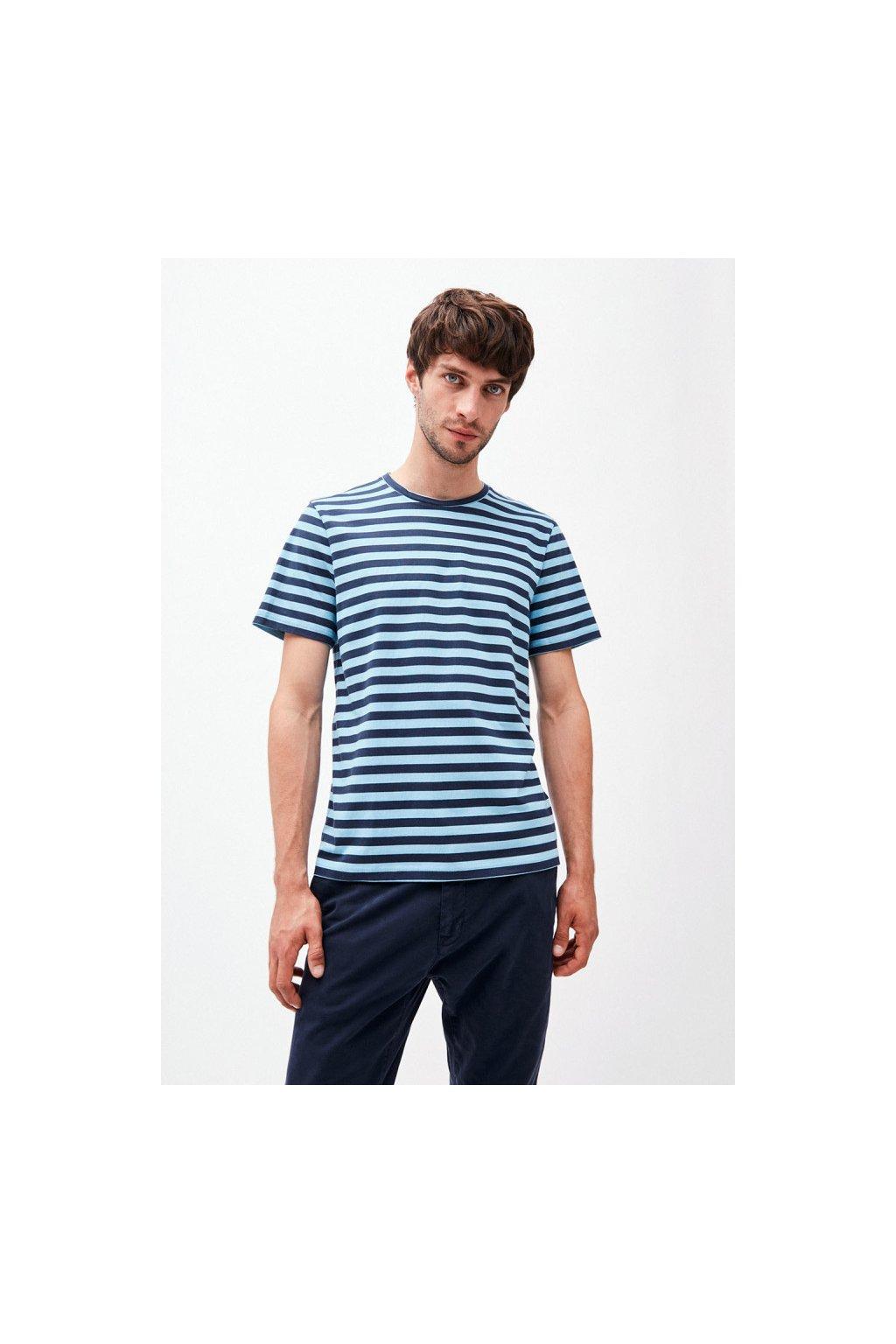 """Pánské pruhované tričko """"JAAMES BRETON"""" - modrá/navy (Velikost L)"""