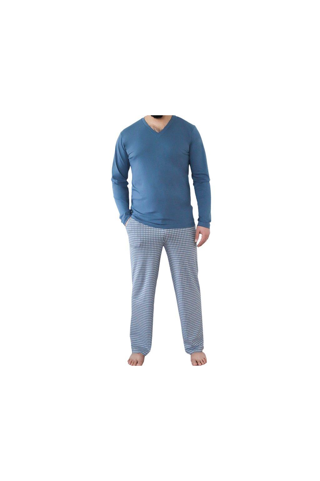 Pánské pyžamové kalhoty z biobavlny - modré (Velikost L)