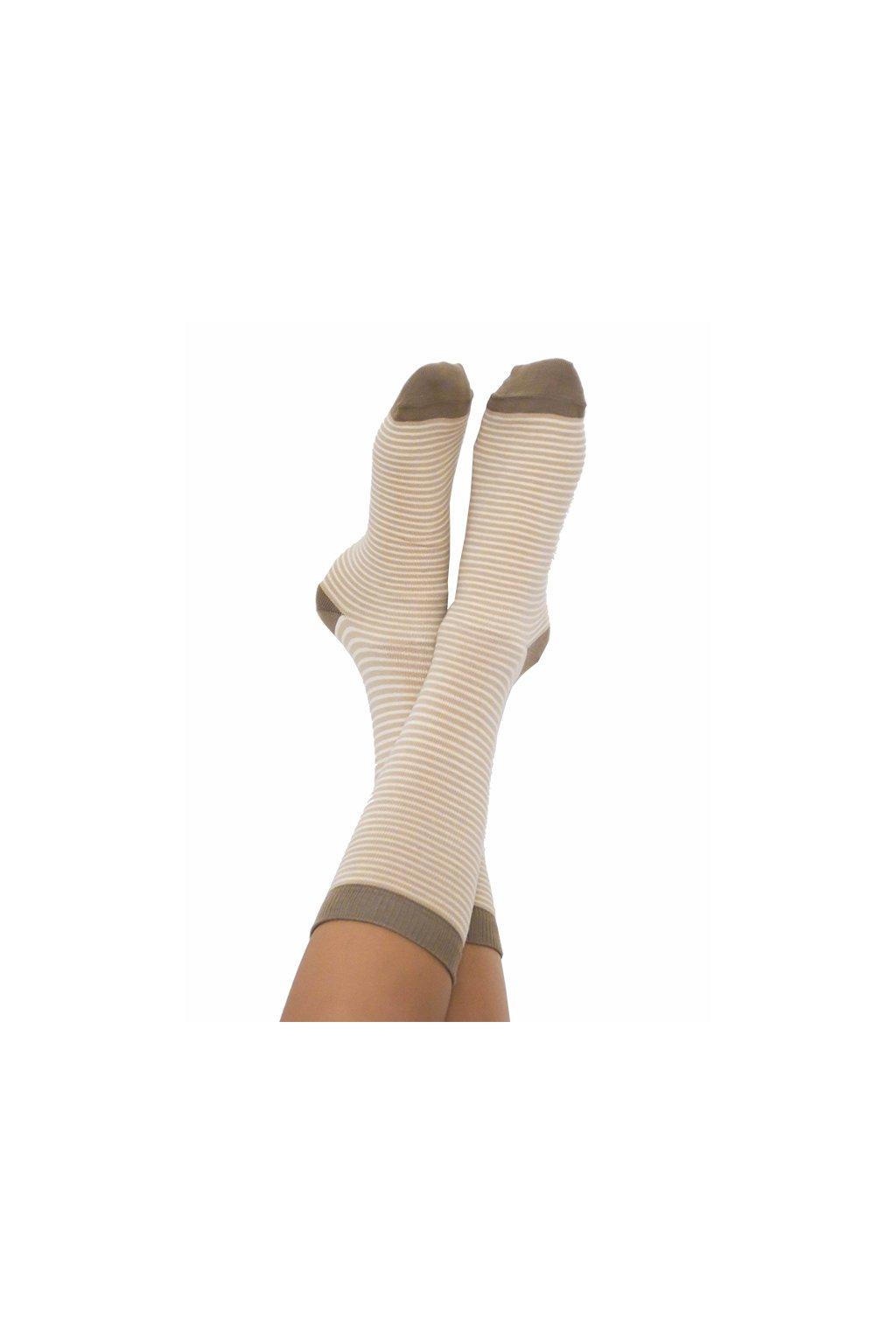 Proužkaté ponožky z biobavlny - hnědá/přírodní (Velikost 35-38)