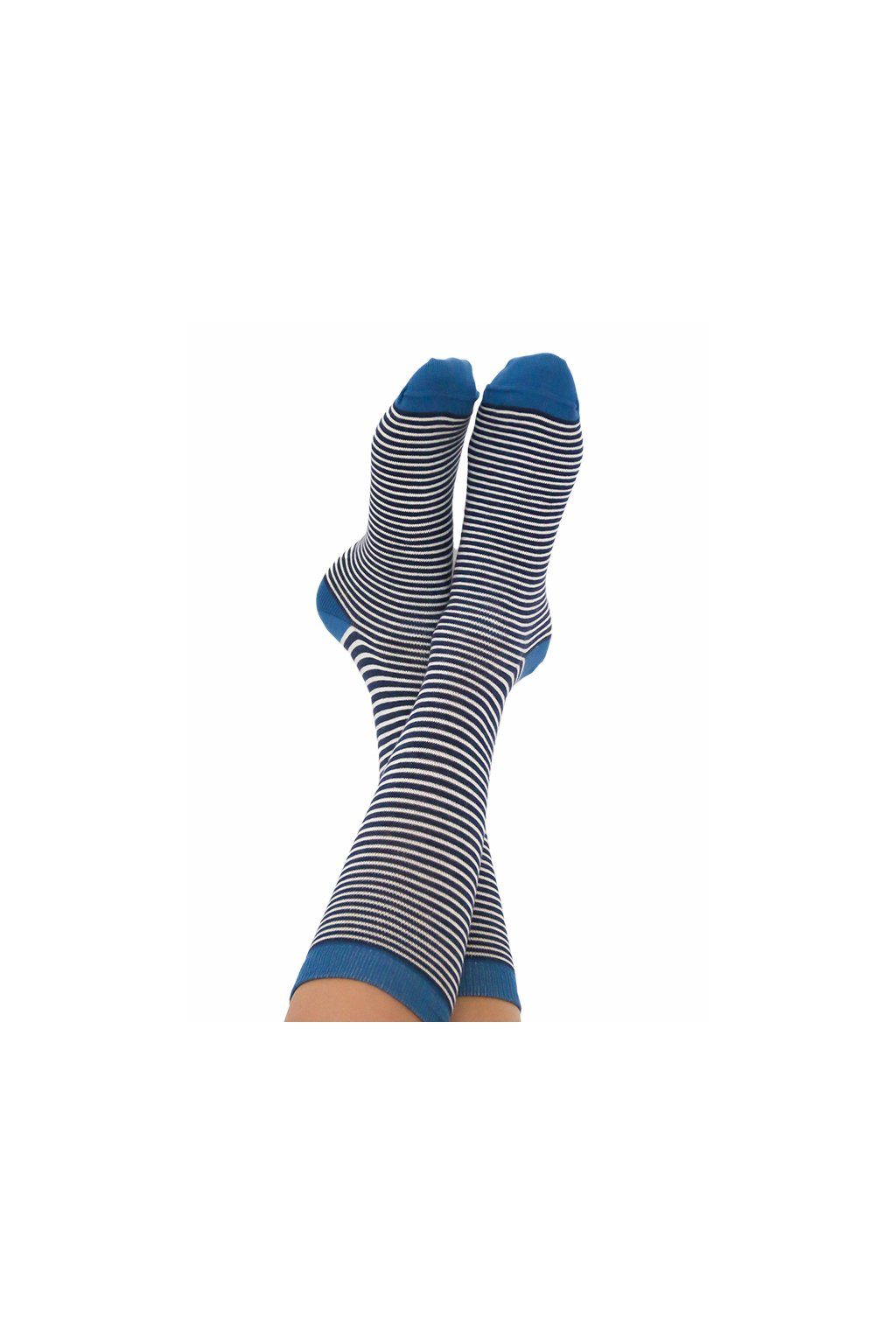 Proužkaté ponožky z biobavlny - modrá/bílá (Velikost 35-38)