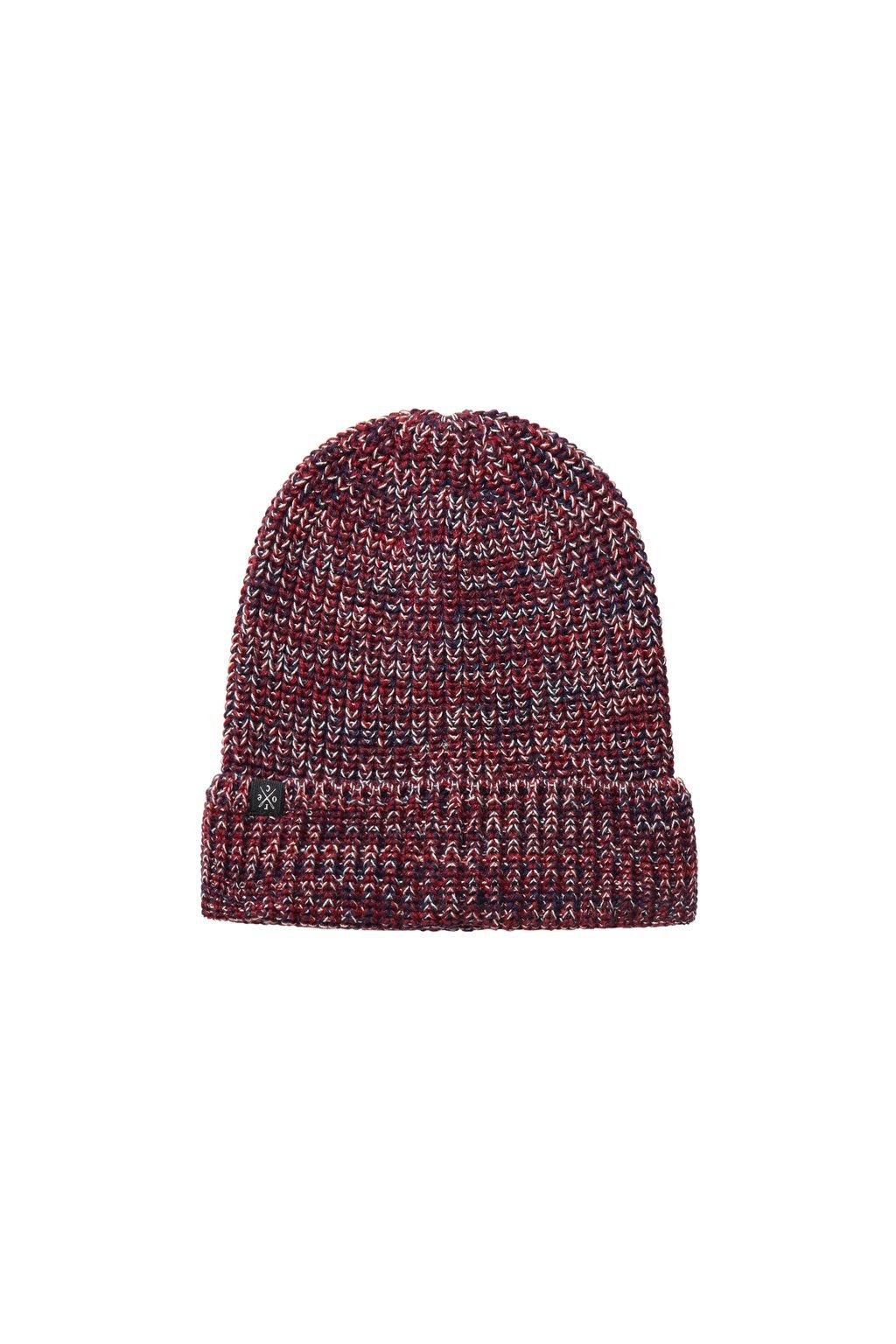 Pletená čapica - červená/tmavomodrá/krémová