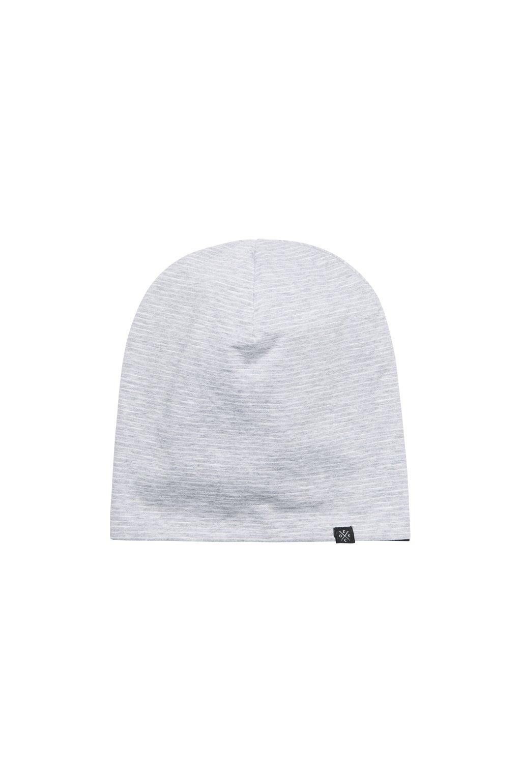 Jednoduchá obojstranná čapica - šedá/krémová