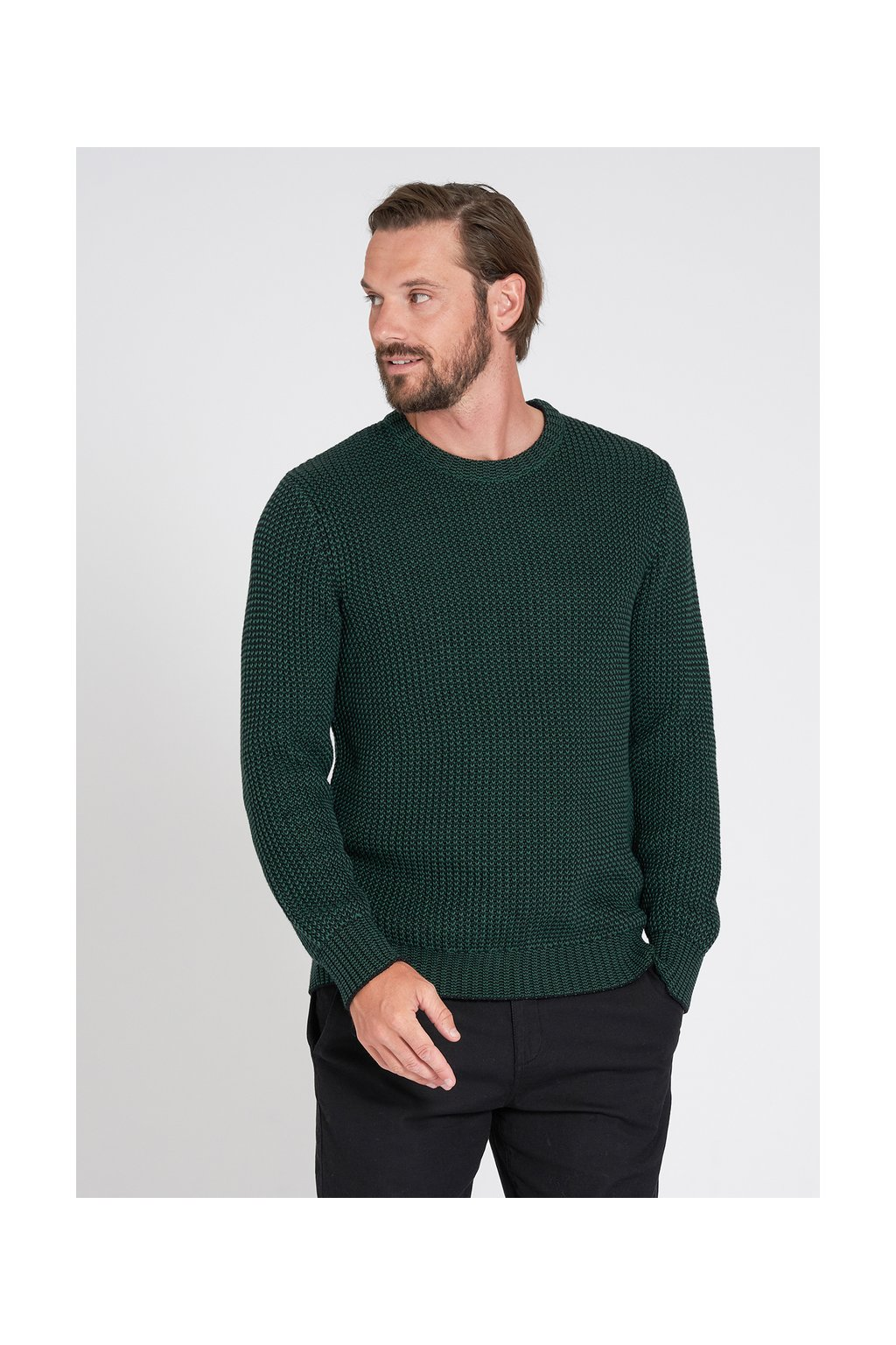 """Pánsky sveter """"MOULINE"""" - čierna/zelená"""