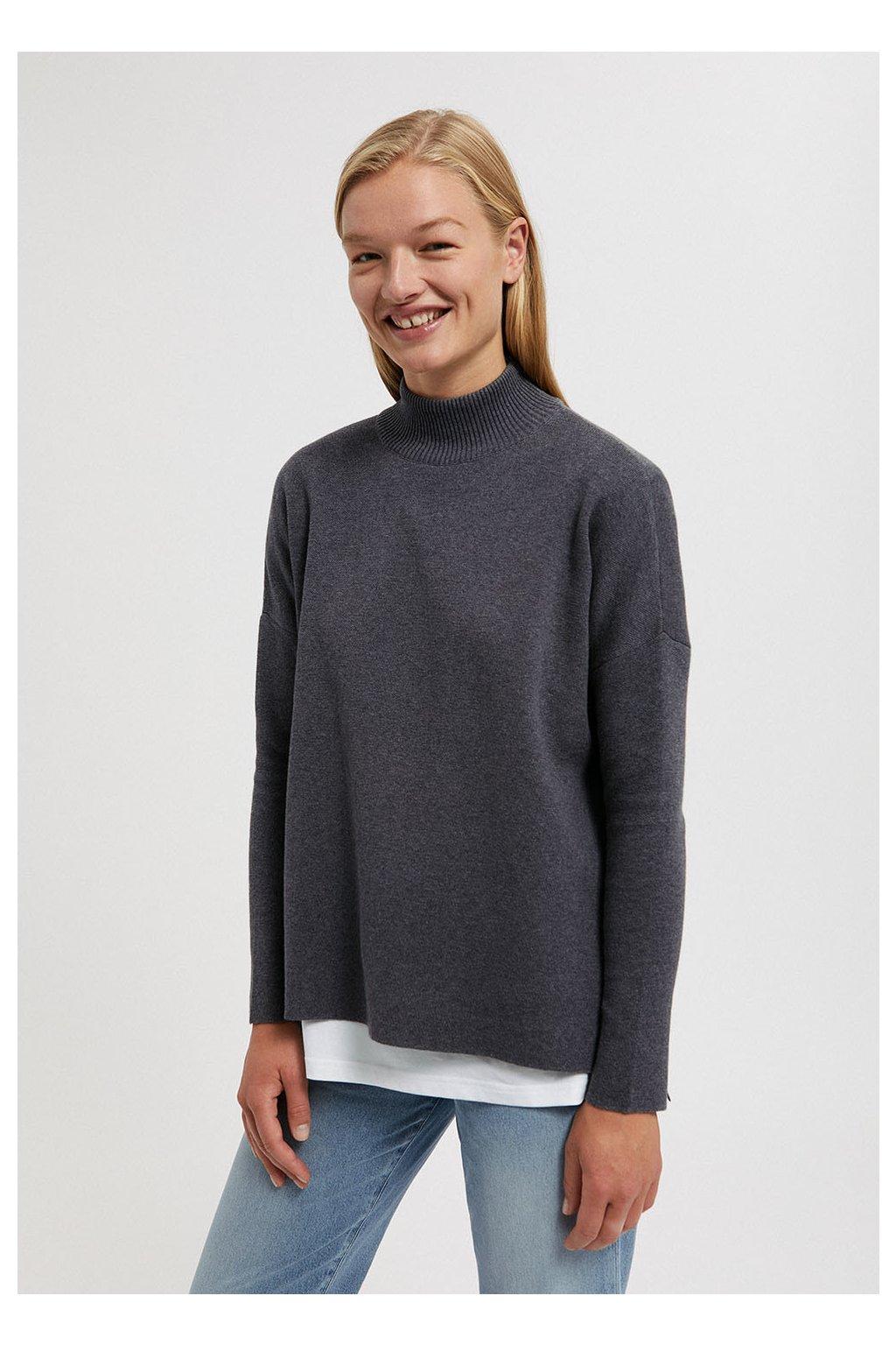 """Dámsky šedý sveter """"YUNAA mid grey melange"""""""