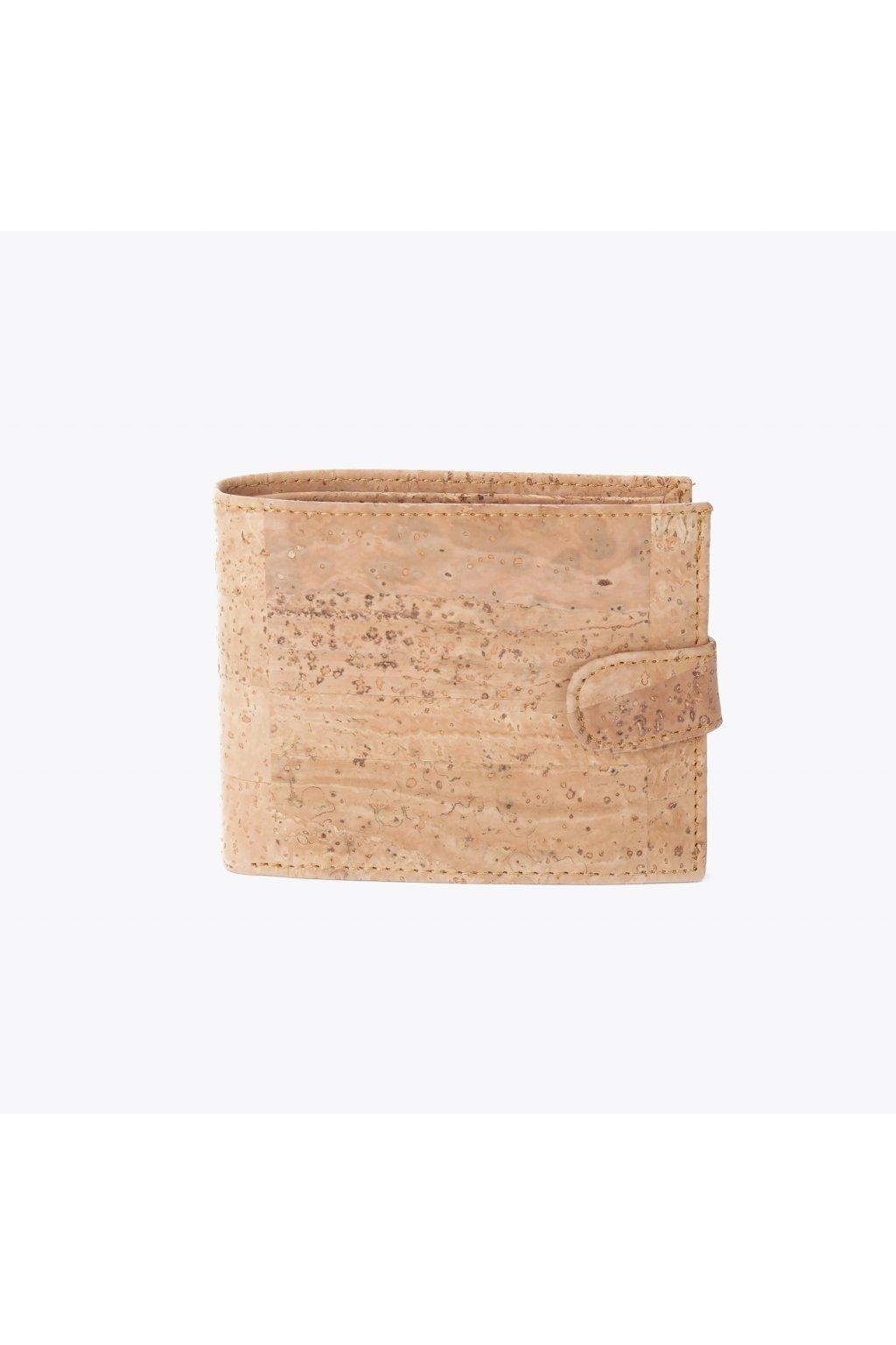 Pánska korková peňaženka (so zapínaním) - prírodná