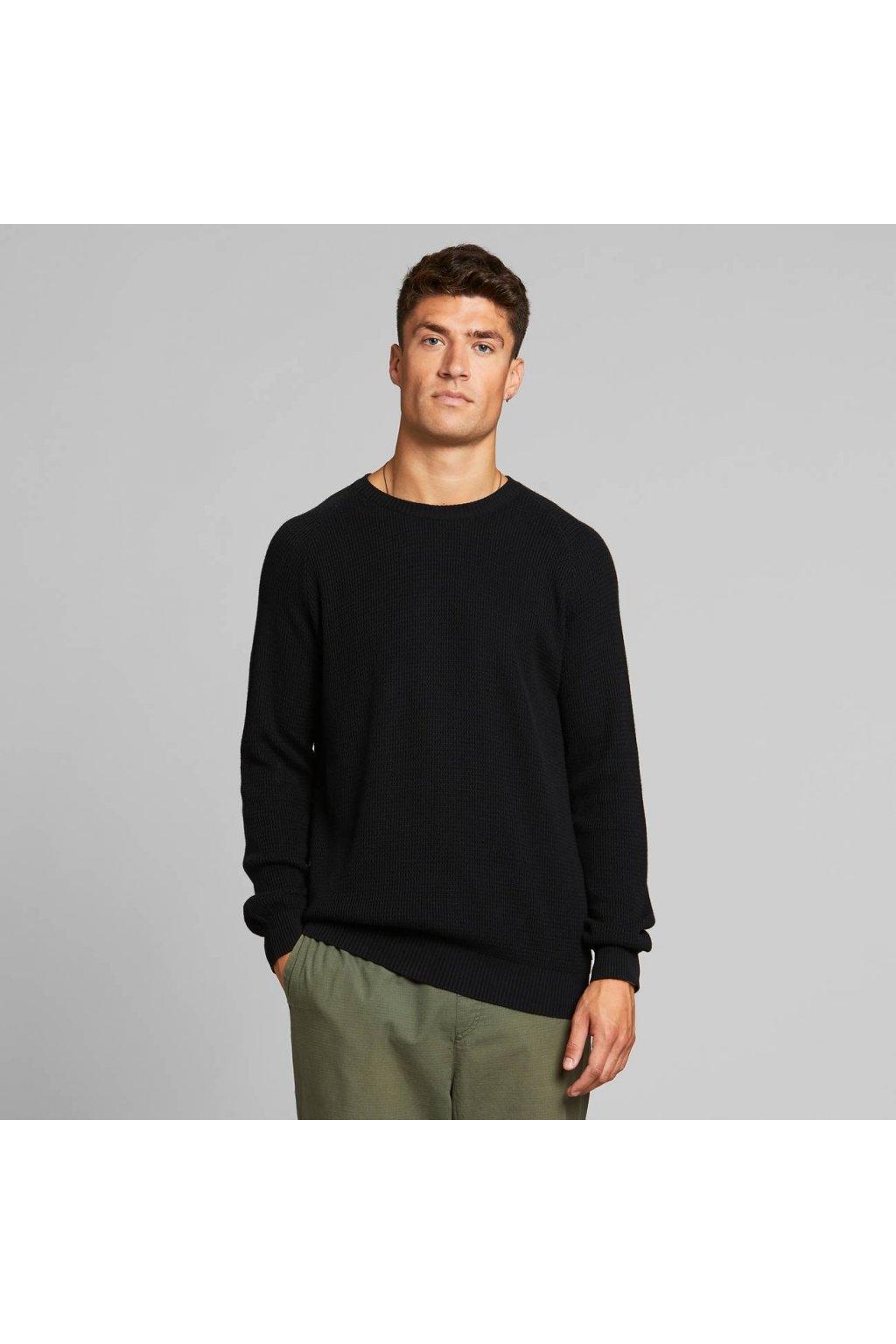 """Pánsky čierny sveter """"Kalmar Black"""""""