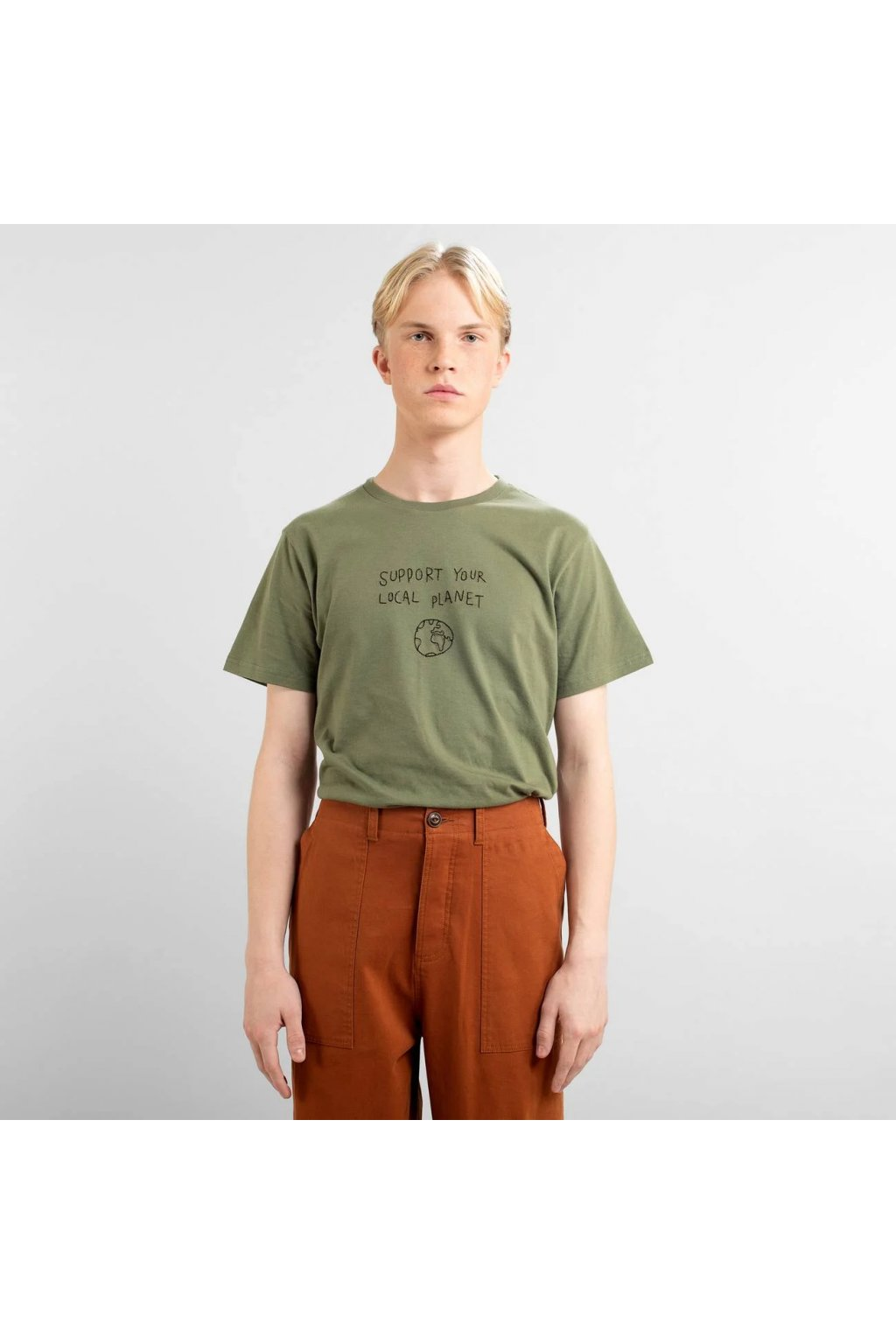 "Pánske zelené tričko s výšivkou ""Stockholm Local Planet Leaf Green"""