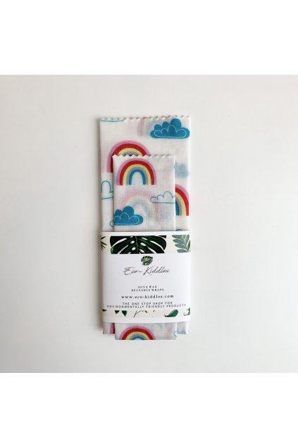 """Obrúsok na potraviny z bavlny a sójového vosku """"Rainbows"""" - malé balenie (2 ks)"""