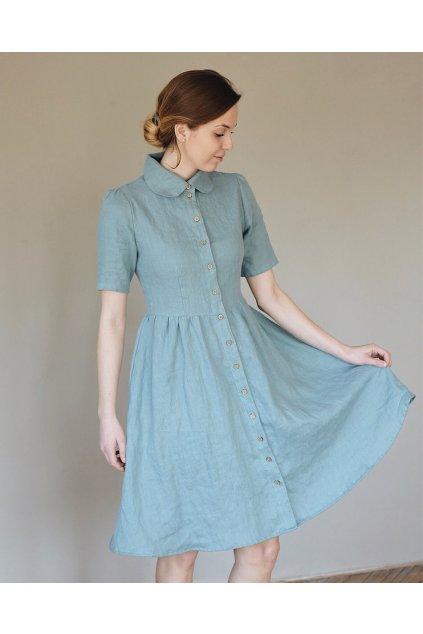 """Ľanové šaty s krátkym rukávom """"WENDY"""" rôzne farby"""