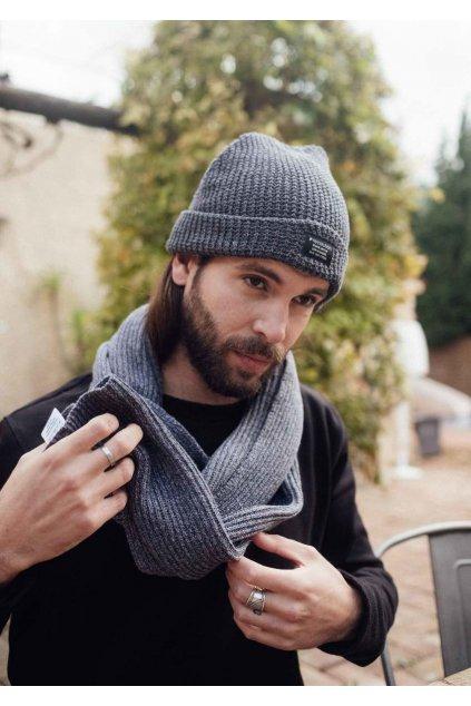 "Šedý pletený šál ""Knit Scarf anthracite/grey/blue"""