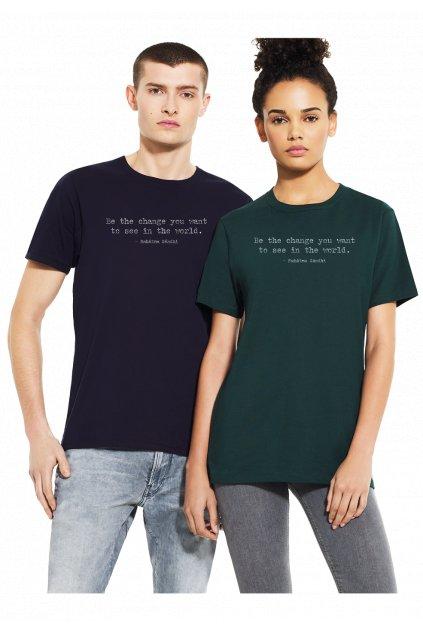 """Unisex tričko z biobavlny """"BE THE CHANGE YOU WANT TO SEE"""" čierne"""