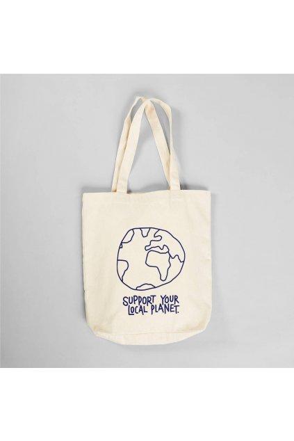 """Plátená taška s potlačou """"Tote Bag Torekov Local Planet Off-White"""""""