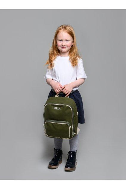 """Menší zelený batoh z biobavlny """"MELA II MINI olive green"""""""