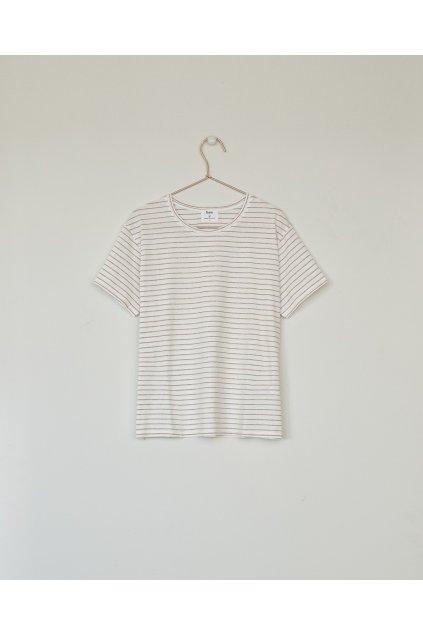 """Dámske pruhované tričko """"Basic T-Shirt ecru camel stripes"""""""