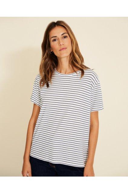 """Dámske pruhované tričko """"Basic T-Shirt ecru navy stripes"""""""