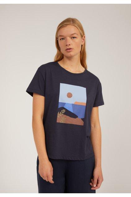 """Dámske tmavomodré tričko s potlačou """"NELAA CALM SEA night sky"""""""