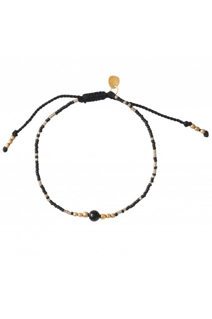 "Dámsky náramok ""Iris Black Onyx Gold Bracelet"""