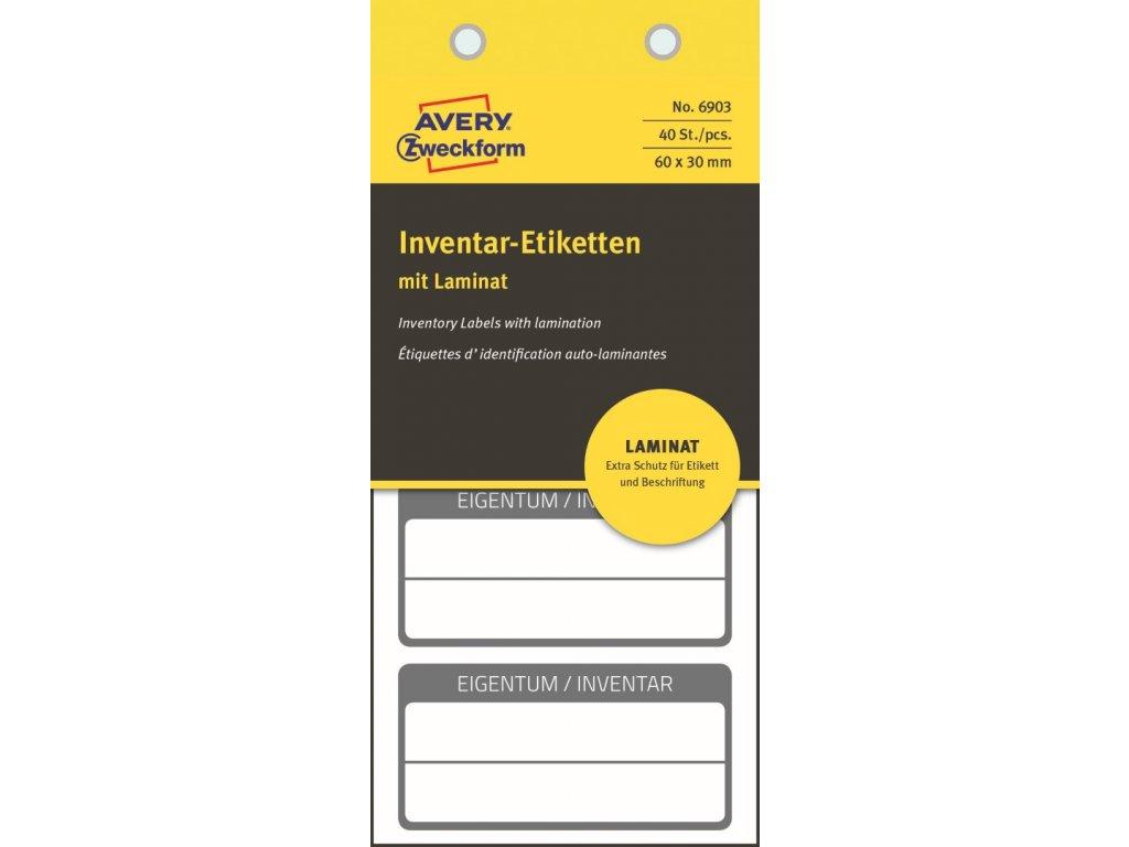 6903 4004182069035 Inventar Etikett mit Laminat schwarz 3 part (Large)