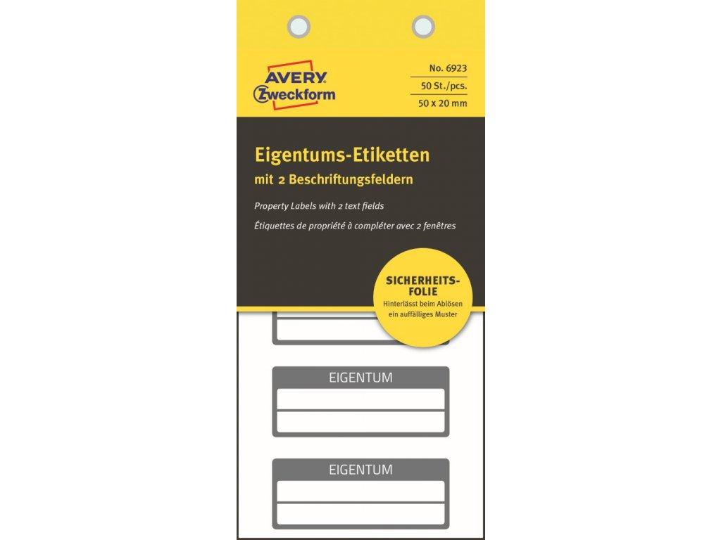 6923 4004182069233 Eigentums Etikett Schachbrett schwarz 2 Felder 2 part (Large)