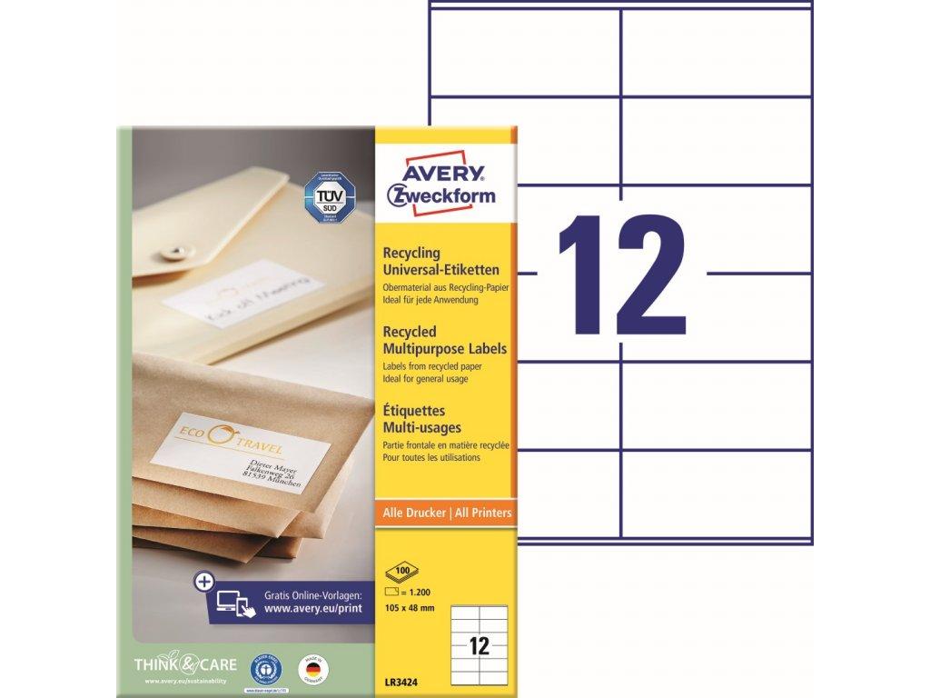 Recyklované samolepící etikety Avery Zweckform LR3424