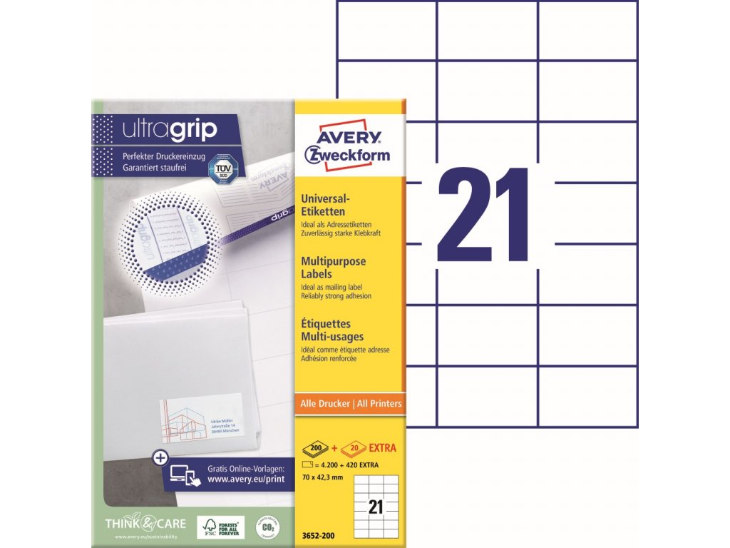 Samolepící etikety Avery Zweckform 3652-200