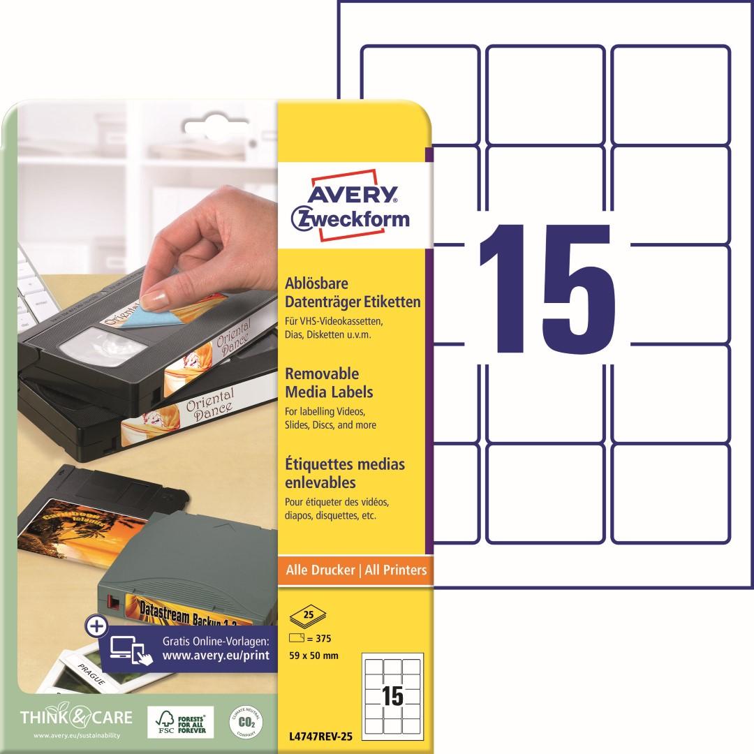 Etikety na diskety ZIP | Avery Zweckform L4747REV-25 | 59x50 mm, 25 listů A4, 375 ks etiket v balení, papírové, snímatelné, barva bílá.