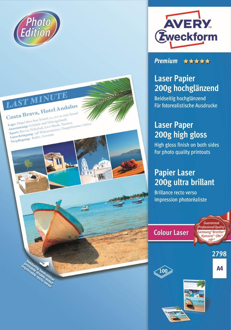 Avery Zweckform 2798 | Fotopapír pro laserové tiskárny, formát A4, 100 listů v balení, 200g/m2, oboustranný, vysoce lesklý.