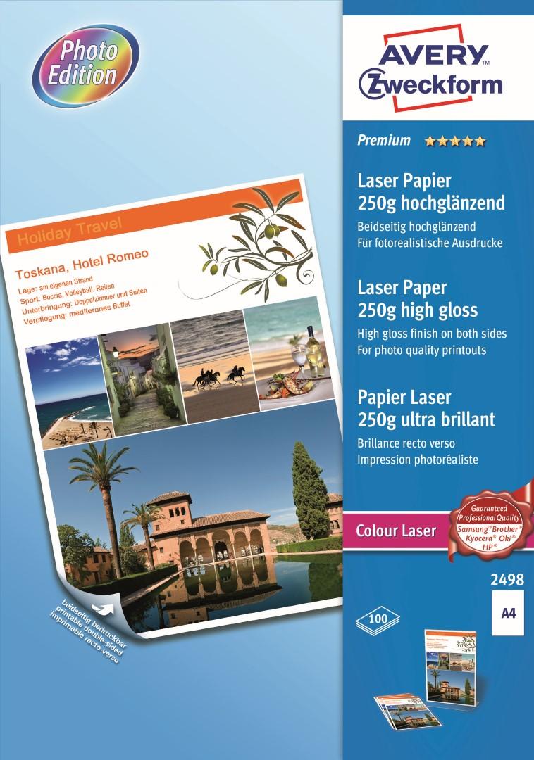Avery Zweckform 2498 | Fotopapír pro laserové tiskárny, formát A4, 100 listů v balení, 250g/m2, oboustranný, vysoce lesklý.