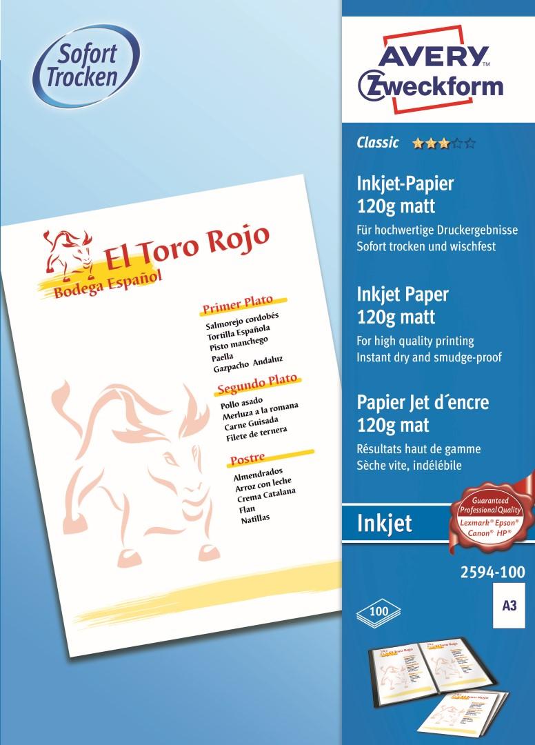 Avery Zweckform 2594-100 | Papír pro inkoustové tiskárny, formát A3 (297x420mm), 100 listů v balení, 120g/m2, matný.