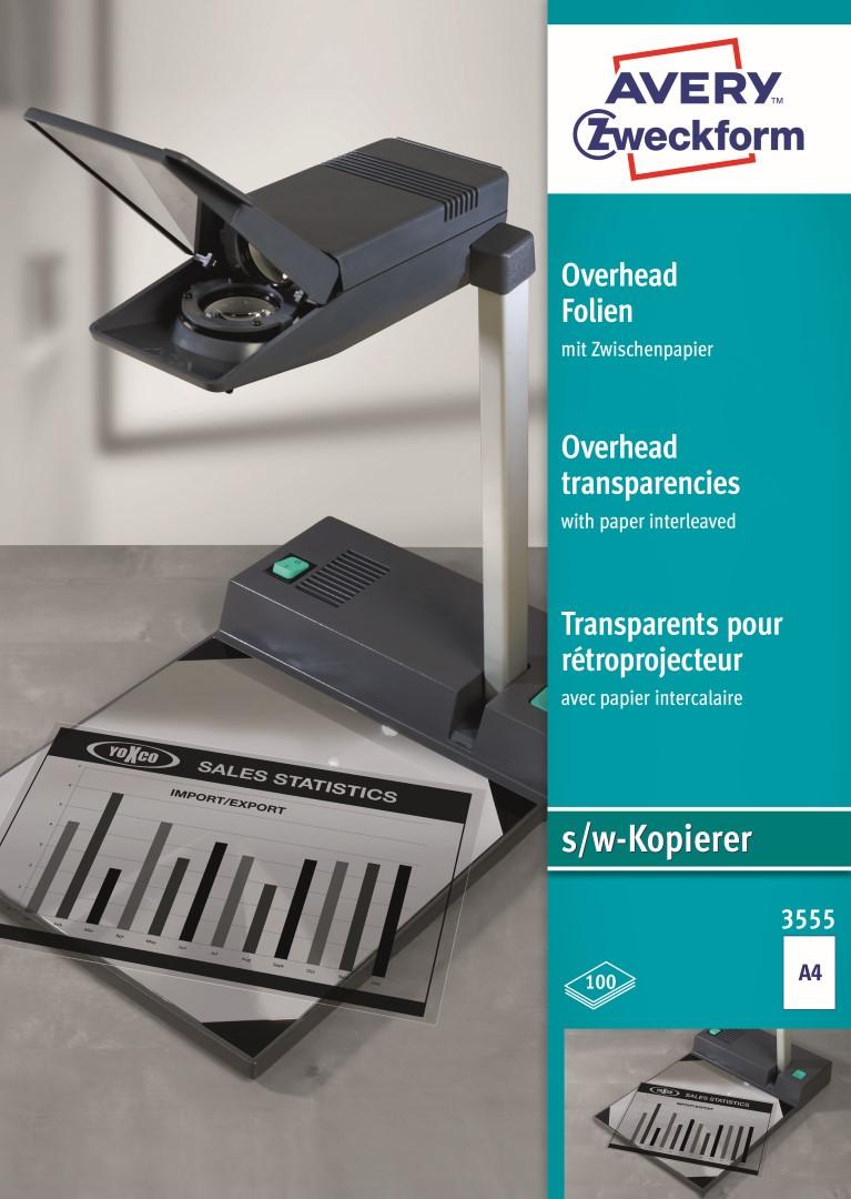 Avery Zweckform 3555 | Projektorová fólie pro č/b kopírovací stroje, formát A4, 100 listů v balení, polyesterová fólie, tloušťka 0,10 mm, barva čirá.