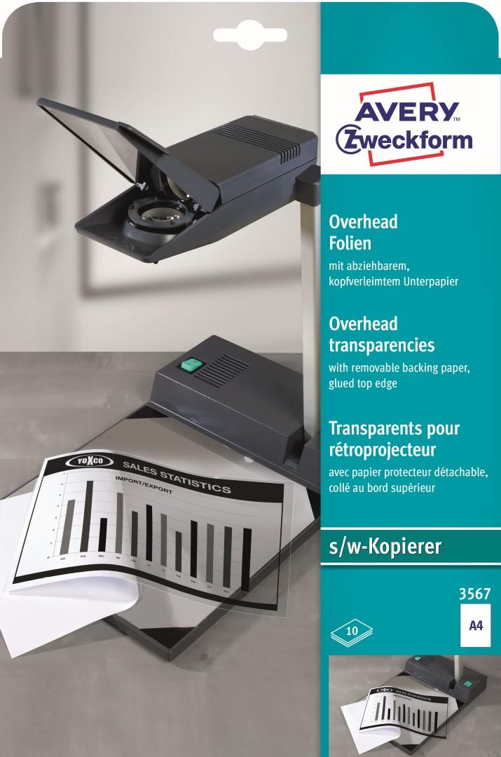 Avery Zweckform 3567 | Projektorová fólie pro č/b kopírovací stroje, formát A4, 10 listů, polyesterové, s podkladovým papírem upevněným nahoře,…